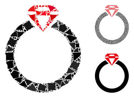 Diamond ring composition of joggly elements in different sizes and shades, based on diamond ring icon. Vector rugged elements are composed into composition.