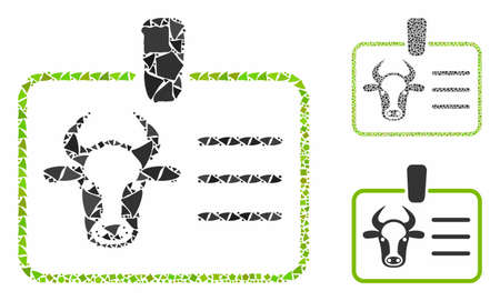 Cow badge mosaic of inequal pieces in various sizes and color tints, based on cow badge icon. Vector inequal dots are grouped into illustration. Cow badge icons collage with dotted pattern.