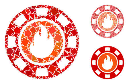 Flame casino chip composition of trembly pieces in different sizes and color tints, based on flame casino chip icon. Vector trembly items are grouped into collage. Illustration