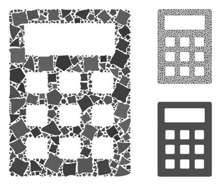 Calculator mosaic of trembly elements in different sizes and color tints, based on calculator icon. Vector bumpy elements are composed into collage. Calculator icons collage with dotted pattern. 向量圖像