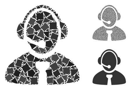 Call center manager composition of rough pieces in variable sizes and color tinges, based on call center manager icon. Vector rugged pieces are grouped into composition. Illustration