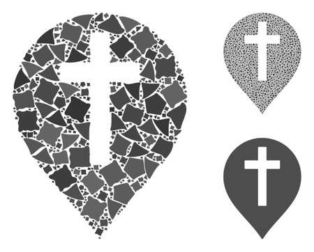 Christian cross marker mosaic of tremulant elements in different sizes and color tints, based on Christian cross marker icon. Vector uneven elements are united into mosaic. 向量圖像