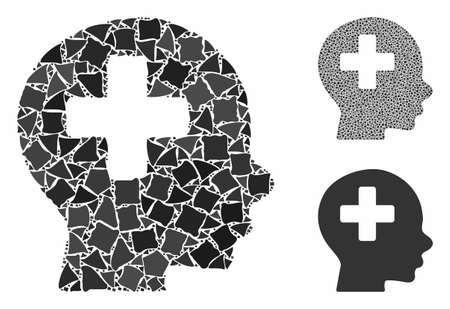 Head medicine composition of abrupt elements in various sizes and shades, based on head medicine icon. Vector abrupt parts are grouped into collage. Head medicine icons collage with dotted pattern. Illustration