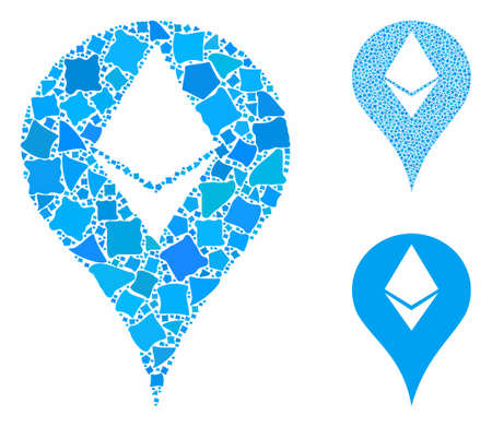 Ethereum map marker composition of inequal elements in various sizes and color tones, based on Ethereum map marker icon. Vector uneven elements are combined into collage.
