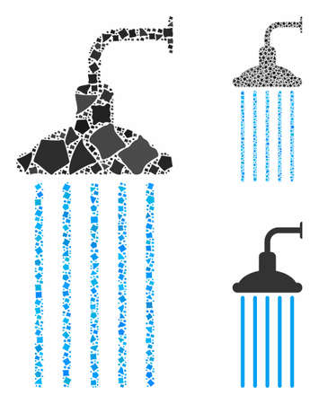 Shower mosaic of ragged elements in different sizes and shades, based on shower icon. Vector rough elements are organized into mosaic. Shower icons collage with dotted pattern.