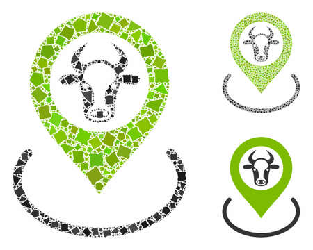 Cow location mosaic of unequal items in various sizes and shades, based on cow location icon. Vector tuberous items are composed into collage. Cow location icons collage with dotted pattern.