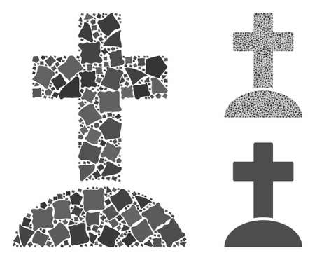 Cemetery cross composition of humpy parts in variable sizes and color hues, based on cemetery cross icon. Vector irregular parts are composed into collage.