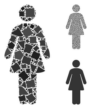 Woman mosaic of pieces in different sizes and color hues, based on woman icon. Vector trembly pieces are grouped into mosaic. Woman icons collage with dotted pattern. Çizim