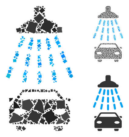 Car shower composition of raggy elements in different sizes and color hues, based on car shower icon. Vector bumpy pieces are grouped into composition. Car shower icons collage with dotted pattern.  イラスト・ベクター素材