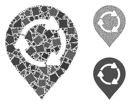 Rotation map marker mosaic of abrupt parts in different sizes and color tones, based on rotation map marker icon. Vector tuberous parts are combined into collage.