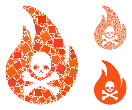 Hell fire composition of raggy items in different sizes and color tones, based on hell fire icon. Vector rugged items are combined into composition. Hell fire icons collage with dotted pattern.