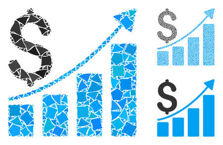 Sales growth chart mosaic of irregular items in various sizes and color tinges, based on sales growth chart icon. Vector irregular pieces are composed into mosaic. Illusztráció