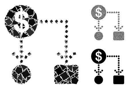 Cashflow composition of rugged parts in various sizes and color tints, based on cashflow icon. Vector raggy dots are combined into collage. Cashflow icons collage with dotted pattern.