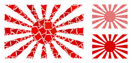 Japanese rising sun mosaic of uneven parts in various sizes and color tints, based on Japanese rising sun icon. Vector unequal parts are organized into mosaic.
