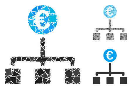 Euro cash flow mosaic of bumpy parts in various sizes and color tints, based on Euro cash flow icon. Vector bumpy parts are grouped into collage. Euro cash flow icons collage with dotted pattern. Illustration