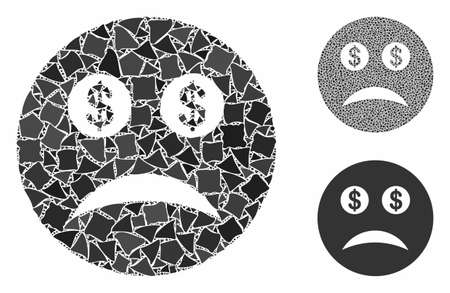 Bankrupt smiley composition of rugged elements in different sizes and color tinges, based on bankrupt smiley icon. Vector abrupt items are organized into composition. Иллюстрация
