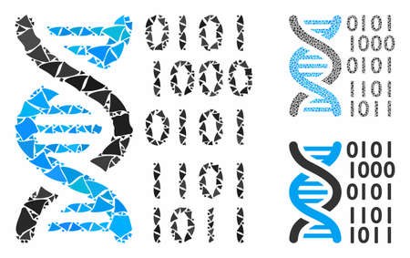 DNA binary code mosaic of rough elements in different sizes and color tones, based on DNA binary code icon. Vector rough elements are composed into illustration.