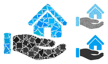 Real estate offer hand mosaic of rough elements in variable sizes and color tints, based on real estate offer hand icon. Vector tremulant elements are organized into mosaic.