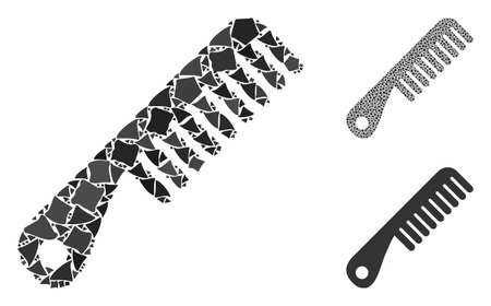 Comb mosaic of unequal pieces in various sizes and color tints, based on comb icon. Vector abrupt pieces are organized into mosaic. Comb icons collage with dotted pattern.