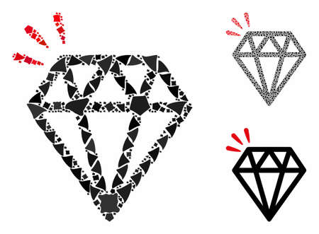 Diamond crystal mosaic of ragged items in various sizes and color hues, based on diamond crystal icon. Vector rugged dots are united into collage. Diamond crystal icons collage with dotted pattern. Ilustrace