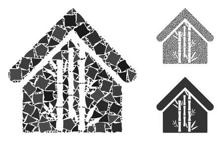 Bamboo house mosaic of rough pieces in different sizes and color tinges, based on bamboo house icon. Vector joggly pieces are organized into collage. Bamboo house icons collage with dotted pattern.