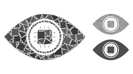 Electronic eye lens mosaic of abrupt pieces in variable sizes and color hues, based on electronic eye lens icon. Vector raggy pieces are combined into collage.
