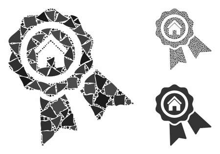Realty award composition of tuberous pieces in various sizes and shades, based on realty award icon. Vector rough items are composed into composition. Realty award icons collage with dotted pattern.