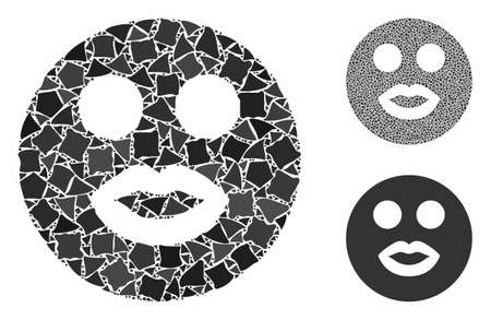 Lady smiley composition of rough parts in variable sizes and color tints, based on lady smiley icon. Vector bumpy parts are grouped into composition. Lady smiley icons collage with dotted pattern.