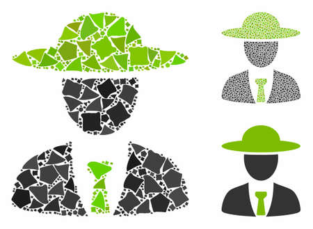 Agronomist chief mosaic of unequal pieces in different sizes and color tones, based on agronomist chief icon. Vector uneven elements are organized into mosaic.