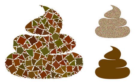 Shit mosaic of tremulant elements in various sizes and color tints, based on shit icon. Vector unequal elements are united into mosaic. Shit icons collage with dotted pattern. Illustration