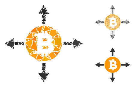 Bitcoin directions mosaic of tremulant pieces in different sizes and color hues, based on Bitcoin directions icon. Vector joggly dots are combined into mosaic.