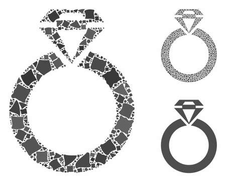 Jewelry ring composition of bumpy elements in variable sizes and shades, based on jewelry ring icon. Vector unequal elements are united into composition. Ilustrace