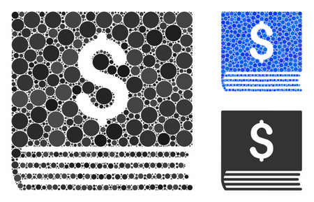 Sales book mosaic of small circles in variable sizes and color hues, based on sales book icon. Vector filled circles are combined into blue mosaic. Dotted sales book icon in usual and blue versions. Illusztráció