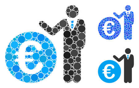 Euro economist composition of round dots in various sizes and shades, based on Euro economist icon. Vector round dots are grouped into blue mosaic. Illustration
