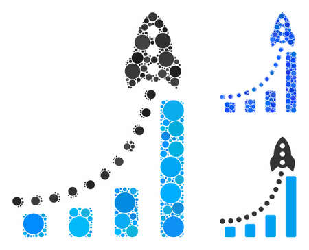 Rocket success bar chart mosaic of small circles in variable sizes and color tints, based on rocket success bar chart icon. Vector small circles are composed into blue composition. Stock fotó - 133019986