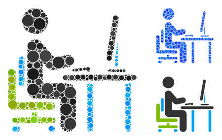 Office work composition of small circles in variable sizes and color tints, based on office work icon. Vector small circles are combined into blue mosaic. Stok Fotoğraf - 133020629