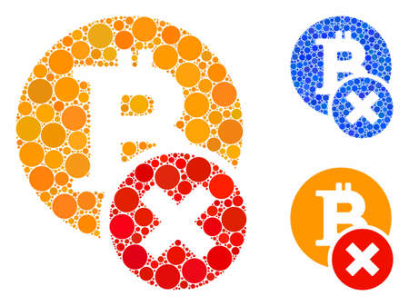 Wrong Bitcoin mosaic of round dots in various sizes and color tinges, based on wrong Bitcoin icon. Vector round dots are grouped into blue composition.
