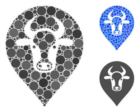 Cow map marker mosaic of round dots in variable sizes and color tinges, based on cow map marker icon. Vector round dots are grouped into blue mosaic. Illustration