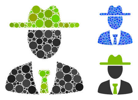 Farmer boss composition of small circles in various sizes and color hues, based on farmer boss icon. Vector filled circles are organized into blue composition.