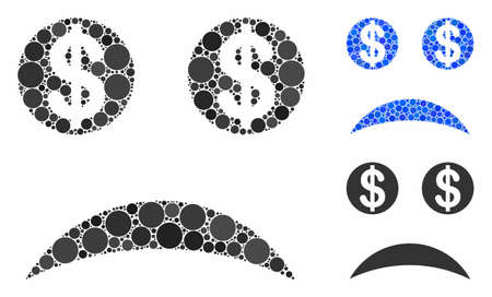 Sad bankrupt smiley mosaic of filled circles in different sizes and color hues, based on sad bankrupt smiley icon. Vector small circles are combined into blue mosaic.