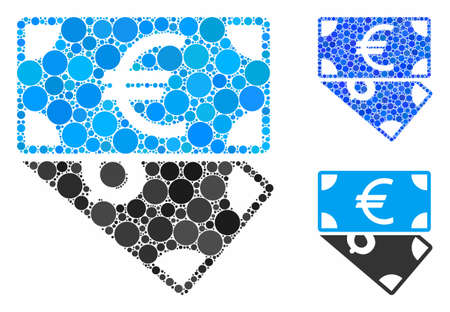 Euro and Dollar banknotes mosaic of small circles in different sizes and color tones, based on Euro and Dollar banknotes icon. Vector small circles are combined into blue composition. Illustration