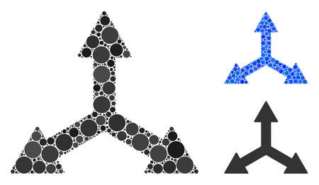 Triple arrows mosaic of filled circles in different sizes and shades, based on triple arrows icon. Vector filled circles are combined into blue illustration.