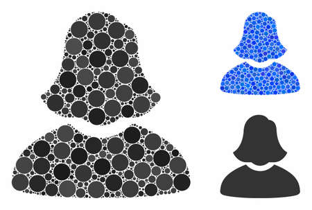 Woman composition of filled circles in different sizes and color tinges, based on woman icon. Vector filled circles are united into blue mosaic. Dotted woman icon in usual and blue versions. Çizim