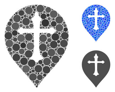 Christian cross marker mosaic of circle elements in variable sizes and color hues, based on Christian cross marker icon. Vector circle elements are composed into blue composition. Ilustrace