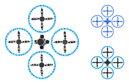 Quadcopter mosaic of circle elements in different sizes and shades, based on quadcopter icon. Vector round elements are composed into blue composition. Illusztráció