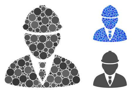 Engineer mosaic of filled circles in variable sizes and color tinges, based on engineer icon. Vector filled circles are combined into blue mosaic. Dotted engineer icon in usual and blue versions. Çizim