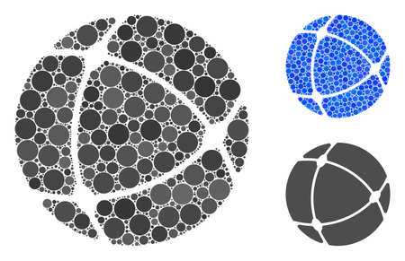 Internet sphere mosaic of round dots in different sizes and color hues, based on internet sphere icon. Vector round dots are composed into blue mosaic.
