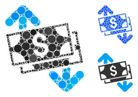 Banknotes spending mosaic of circle elements in different sizes and color tones, based on banknotes spending icon. Vector round elements are grouped into blue mosaic.