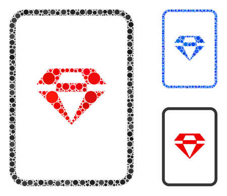 Ruby gambling card mosaic of circle elements in various sizes and color tones, based on ruby gambling card icon. Vector circle elements are composed into blue composition.