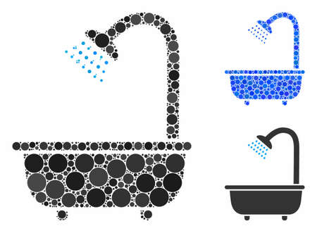Bath shower mosaic of small circles in variable sizes and color hues, based on bath shower icon. Vector random circles are combined into blue mosaic.